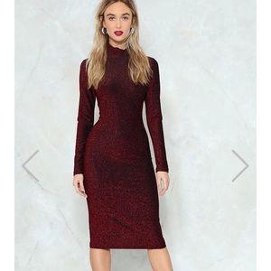 Glitter Long Sleeve Midi Dress